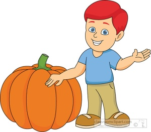 boy cartoon character holding pumpkin